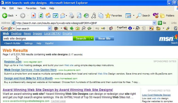 Award Winning Web Site Designs #1 rank in MSN Search!