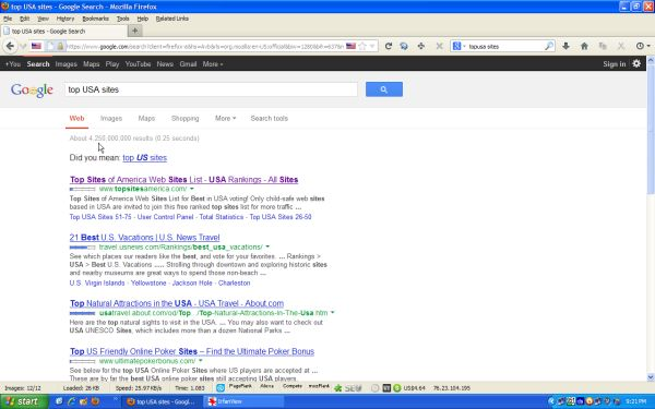 Our #1 ranking for Top USA Sites in Google!