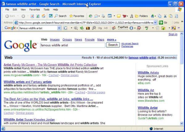 #1 rank at Google for famous wildlife artist Randy McGovern