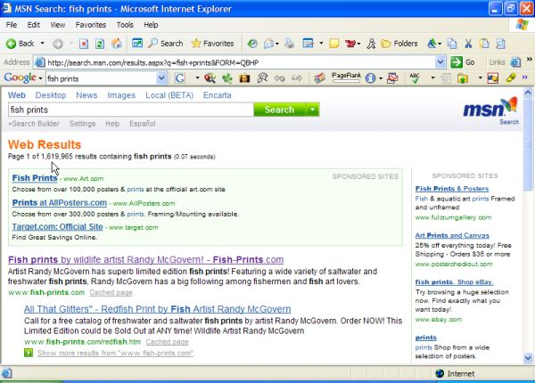 #1 rank for Fish Prints at MSN Search!