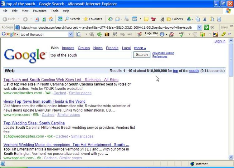 Top NC and SC Web Sites List #1 ranking in Google