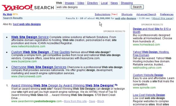 Award Winning Web Site Designs #1 rank at Yahoo!